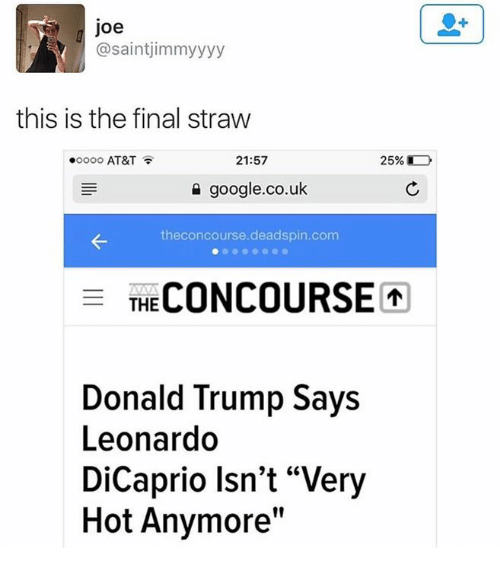 "Dicaprio, Joe, and Deadspin: Joe  asaintjimmyyyy  this is the final straw  21:57  .oooo AT&T  google.co.uk  theconcourse.deadspin.com  F THE  Donald Trump Says  Leonardo  DiCaprio Isn't ""Very  Hot Anymore"""