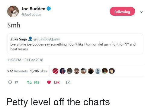 Ass, Joe Budden, and Petty: Joe Budden  @JoeBudden  Following  Smh  Zuke Saga @SushiBoyQualm  Every time joe budden say something I don't like I turn on def gam fight for NY and  beat his ass  11:05 PM 21 Dec 2018  572 Retweets 1,786 Likes ).@曩㊧岑2 @  9 77 t572 1.8K Petty level off the charts
