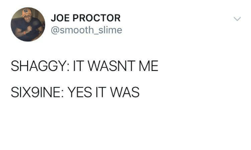 shaggy: JOE PROCTOR  @smooth_slime  SHAGGY: IT WASNT ME  SIX9INE: YES IT WAS