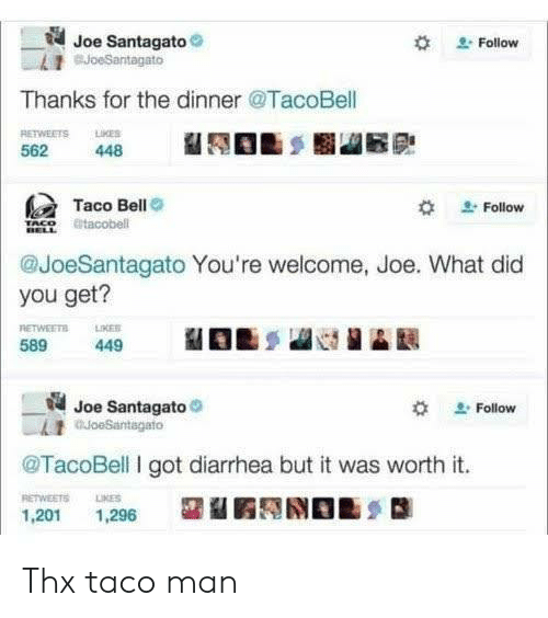Taco Bell: Joe Santagato  BJoeSantagato  Follow  Thanks for the dinner @TacoBell  RETWEETS LKES  562  448  Taco Bell  Follow  tacobell  @JoeSantagato You're welcome, Joe. What did  you get?  RETWEETS  589  LIKER  449  Joe Santagato  auoeSantagato  Follow  @TacoBell I got diarrhea but it was worth it.  RETWEETS  LIKES  1,201  1,296 Thx taco man