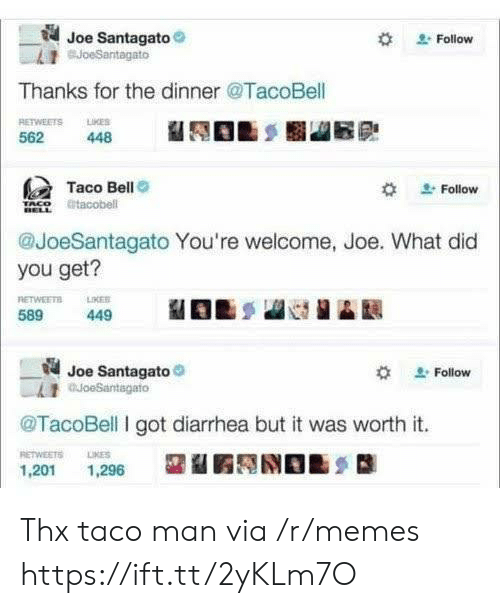 Taco Bell: Joe Santagato  BJoeSantagato  Follow  Thanks for the dinner @TacoBell  RETWEETS LKES  562  448  Taco Bell  Follow  tacobell  @JoeSantagato You're welcome, Joe. What did  you get?  RETWEETS  589  LIKER  449  Joe Santagato  auoeSantagato  Follow  @TacoBell I got diarrhea but it was worth it.  RETWEETS  LIKES  1,201  1,296 Thx taco man via /r/memes https://ift.tt/2yKLm7O