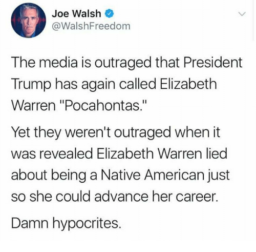 "Elizabeth Warren, Memes, and Native American: Joe Walsh  @WalshFreedom  The media is outraged that President  Trump has again called Elizabeth  Warren ""Pocahontas.""  Yet they weren't outraged when it  was revealed Elizabeth Warren lied  about being a Native American just  so she could advance her career.  Damn hypocrites."