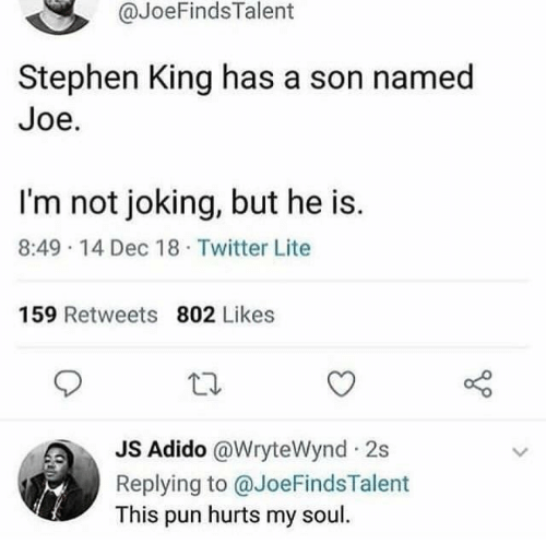lite: @JoeFindsTalent  Stephen King has a son named  Joe.  I'm not joking, but he is.  8:49 14 Dec 18 Twitter Lite  159 Retweets 802 Likes  JS Adido @WryteWynd 2s  Replying to @JoeFindsTalent  This pun hurts my soul.