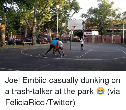 dunking: Joel Embiid casually dunking on a trash-talker at the park 😂  (via FeliciaRicci/Twitter)