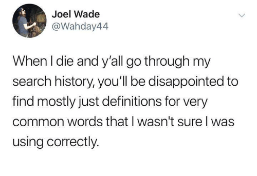 Disappointed, Funny, and Tumblr: Joel Wade  @Wahday44  When I die and y'all go through my  search history, you'll be disappointed to  find mostly just definitions for very  common words that I wasn't sure l was  using correctly.