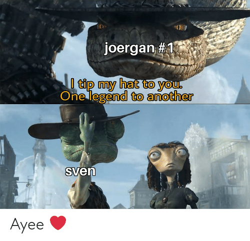 Ayee: joergan #1  l tip my hat to you  One legend to another  AN  DEAT  Sven Ayee ❤