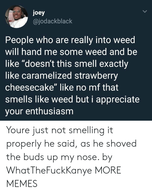 "Be Like, Dank, and Memes: joey  @jodackblack  People who are really into weed  will hand me some weed and be  like ""doesn't this smell exactly  like caramelized strawberry  cheesecake"" like no mf that  smells like weed but i appreciate  your enthusiasm Youre just not smelling it properly he said, as he shoved the buds up my nose. by WhatTheFuckKanye MORE MEMES"