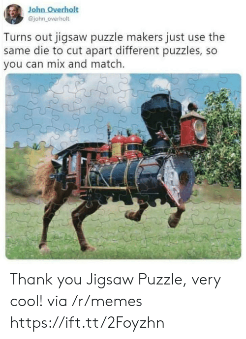 Memes, Thank You, and Cool: John Overholt  @john_overholt  Turns out jigsaw puzzle makers just use the  same die to cut apart different puzzles, so  you can mix and match. Thank you Jigsaw Puzzle, very cool! via /r/memes https://ift.tt/2Foyzhn
