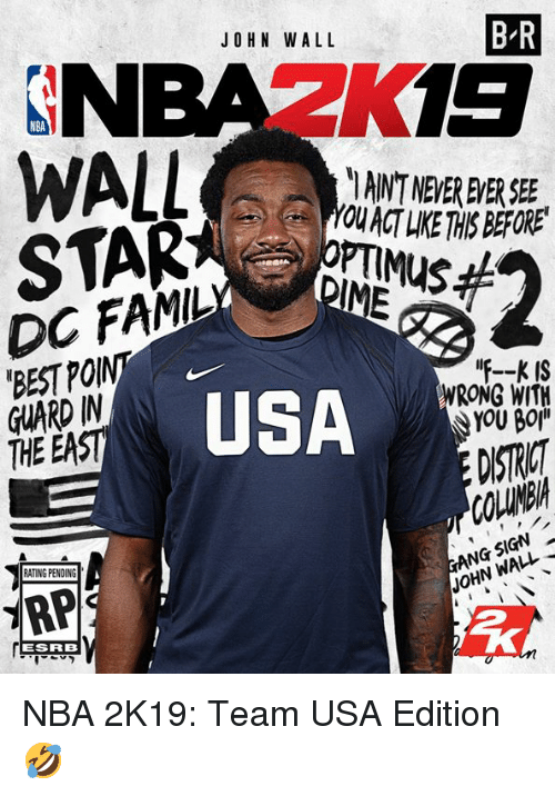 John Wall, Nba, and Best: JOHN WALL  B-R  NBAZK  IANT NEVER EVER SEE  YOU ACT LIKE THIS BEFORE  DC FAMIL  'BEST PO  GUARD IN  THE EAST  USA  F--K IS  WRONG WITH  YOU BOj  DISTICT  RATING PENDING  JOHN WALL  ESRRB NBA 2K19: Team USA Edition 🤣