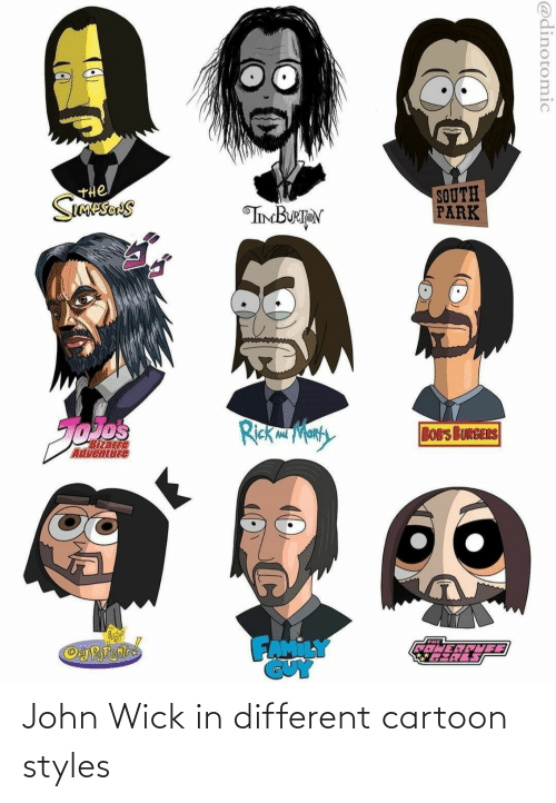 john wick: John Wick in different cartoon styles
