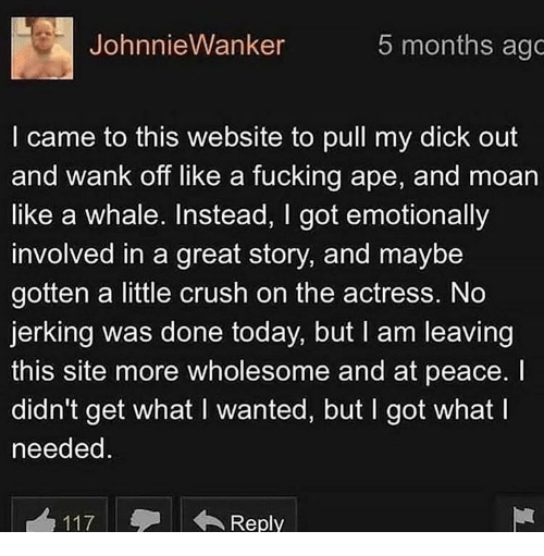 Great Story: JohnnieWanker  5 months ago  I came to this website to pull my dick out  and wank off like a fucking ape, and moan  like a whale. Instead, I got emotionally  involved in a great story, and maybe  gotten a little crush on the actress. No  jerking was done today, but I am leaving  this site more wholesome and at peace. I  didn't get what I wanted, but I got what I  needed  117Reply