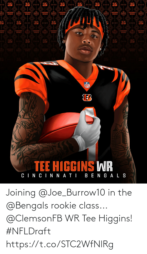 Rookie: Joining @Joe_Burrow10 in the @Bengals rookie class...  @ClemsonFB WR Tee Higgins! #NFLDraft https://t.co/STC2WfNlRg