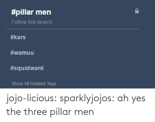 pillar: jojo-licious: sparklyjojos:  ah yes the three pillar men