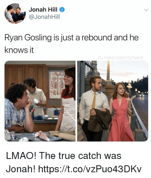 Funny, Jonah Hill, and Lmao: Jonah Hill  @JonahHill  Ryan Gosling is just a rebound and he  knows it  G:FakeCelebrityTweet LMAO! The true catch was Jonah! https://t.co/vzPuo43DKv