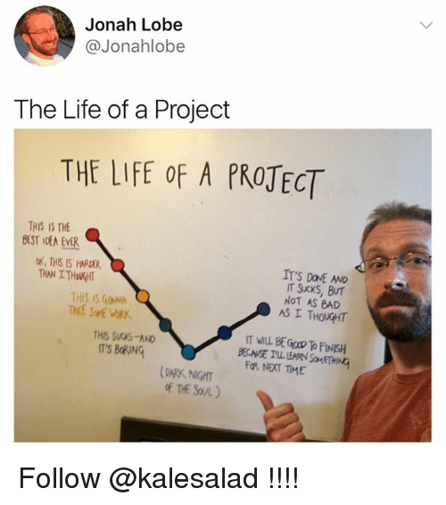 Bad, Life, and Memes: Jonah Lobe  Jonahlobe  The Life of a Project  THE LIFE OF A PROTECT  THIS IS THE  a  OK, THIS IS HRAR  IT'S DavE AND  IT Sucks, BUT  THIS IS GONNA  NOT AS BAD  AS I THOUGHT  THIS Svows-AND  IT'S BRING  Fa, NEXT TIME  of The SovL) Follow @kalesalad !!!!