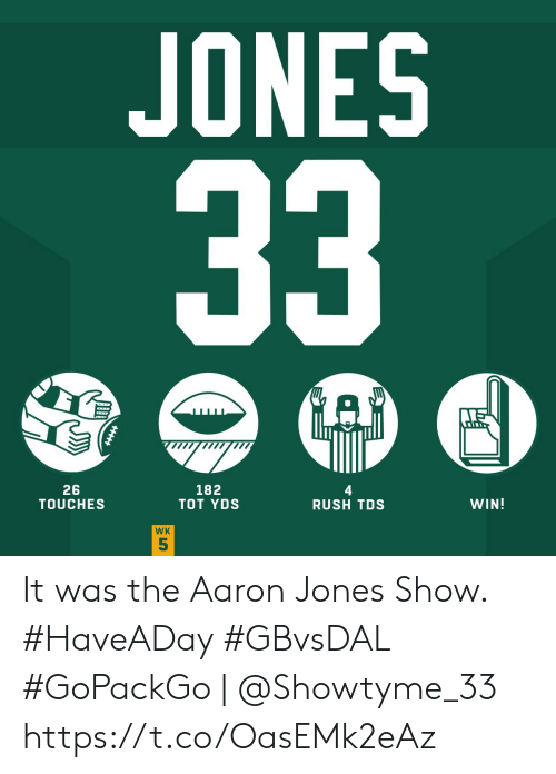 tot: JONES  33  182  TOT YDS  26  TOUCHES  WIN!  RUSH TDS  WK  5 It was the Aaron Jones Show. #HaveADay #GBvsDAL  #GoPackGo | @Showtyme_33 https://t.co/OasEMk2eAz