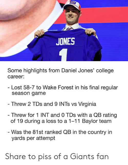 College, Nfl, and Lost: JONES  Some highlights from Daniel Jones' college  career  Lost 58-7 to Wake Forest in his final regular  season game  Threw 2 TDs and 9 INTs vs Virginia  Threw for 1 INT and 0 TDs with a QB rating  of 19 during a loss to a 1-11 Baylor team  Was the 81st ranked QB in the country in  yards per attempt Share to piss of a Giants fan