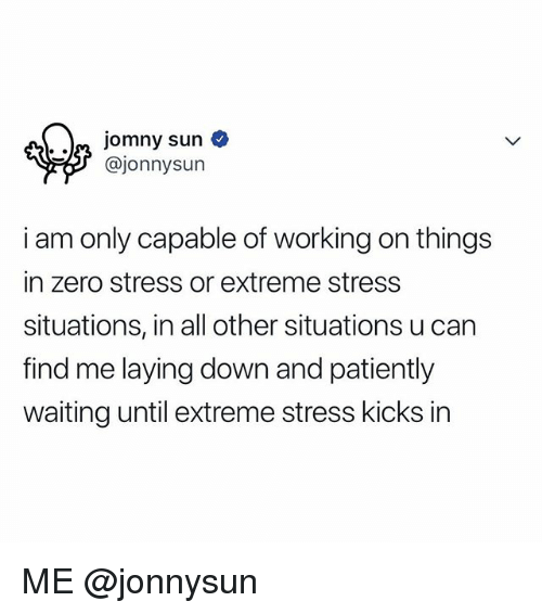 Patiently Waiting: @jonnysun  i am only capable of working on things  in zero stress or extreme stress  situations, in all other situations u can  find me laying down and patiently  waiting until extreme stress kicks in ME @jonnysun