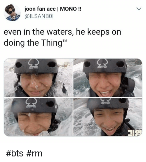 Bts, The Thing, and Mono: joon fan acc   MONO!!  ILSANBOI  even in the waters, he keeps on  doing the Thing #bts #rm