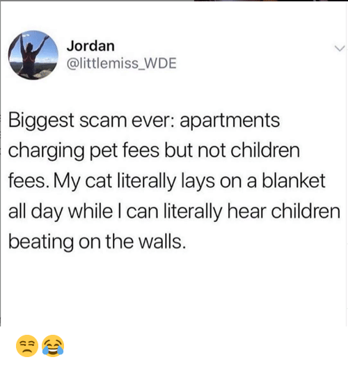 Children, Dank, and Lay's: Jordan  @littlemiss WDE  Biggest scam ever: apartments  charging  pet fees but not children  fees. My cat literally lays on a blanket  all day while l can literally hear children  beating on the walls. 😒😂