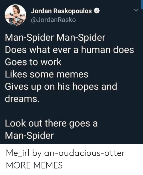 Dank, Memes, and Spider: Jordan Raskopouloso  @JordanRasko  Man-Spider Man-Spider  Does what ever a human does  Goes to work  Likes some memes  Gives up on his hopes and  dreams.  Look out there goes a  Man-Spider Me_irl by an-audacious-otter MORE MEMES
