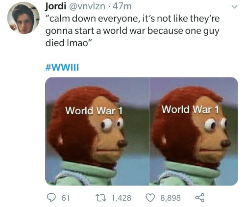 "war: Jordi @vnvlzn · 47m  ""calm down everyone, it's not like they're  gonna start a world war because one guy  died Imao""  #WWIII  World War 1  World War 1  27 1,428  61  8,898"