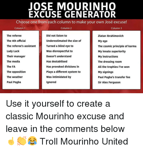 Ferguson: JOSE MOURINHO  EXCUSE GENERATOR  Choose one from each column to make your own José excuse!  Column 1  Column 2  Column3  The referee  The 4th official  The referee's assistant  Lady Luck  Their manager  The media  The FA  The opposition  The weather  Paul Pogba  Did not listen to  Underestimated the size of  Turned a blind eye to  Was disrespectful to  Doesn't understand  Has destabilised  Has provoked divisions in  Plays a different system to  Was intimidated by  Ignored  Zlatan Ibrahimovich  My ego  The cosmic principle of karma  My innate superiority  My instructions  The dressing room  All the trophies l've won  My signings  Paul Pogba's transfer fee  Sir Alex Ferguson Use it yourself to create a classic Mourinho excuse and leave in the comments below ☝️👏😂 Troll Mourinho United