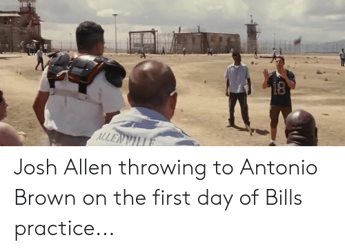 Nfl, Antonio Brown, and Bills: Josh Allen throwing to Antonio Brown on the first day of Bills practice...