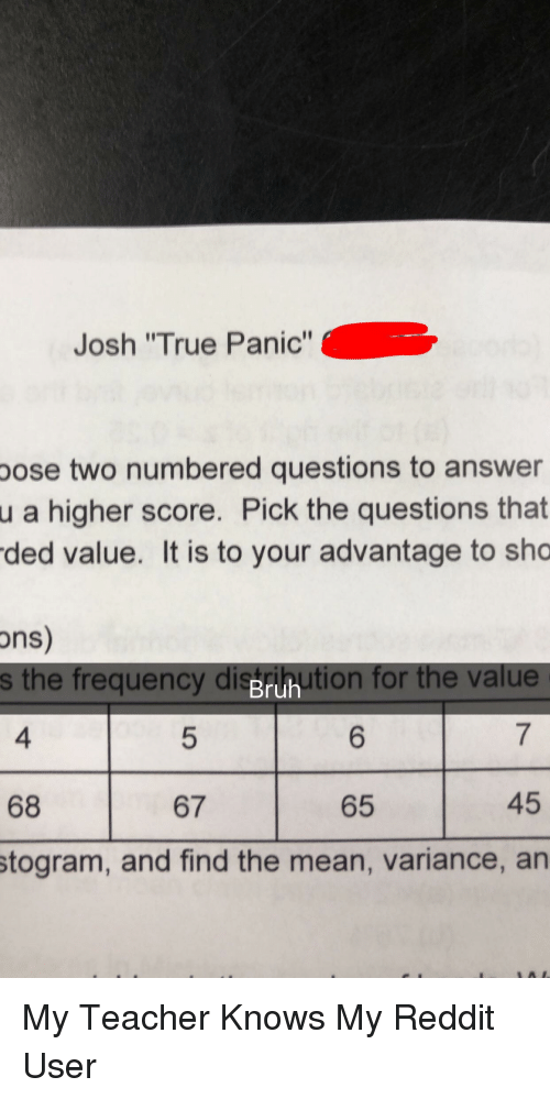 Josh True Panic Pose Two Numbered Questions to Answer a Higher Score