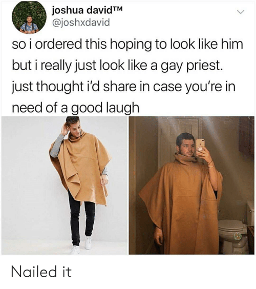 In Need: joshua davidTM  @joshxdavid  so i ordered this hoping to look like him  but i really just look like a gay priest.  just thought i'd share in case you're in  need of a good laugh Nailed it