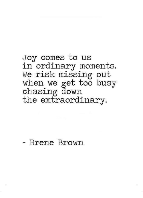 Missing Out: Joy comes to us  in ordinary moments.  We risk missing out  when we get too busy  chasing ddown  the extraordinary  Brene Brown