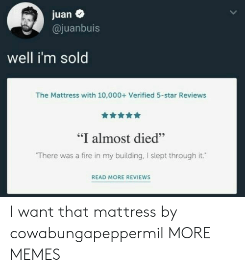 """Reviews: juan  @juanbuis  well i'm sold  The Mattress with 10,000+ Verified 5-star Reviews  """"I almost died""""  There was a fire in my building, I slept through it.  READ MORE REVIEWS I want that mattress by cowabungapeppermil MORE MEMES"""