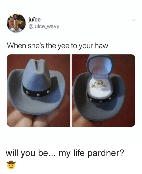 Juice, Life, and Yee: Juice  @juice_wavy  When she's the yee to your haw will you be... my life pardner? 🤠