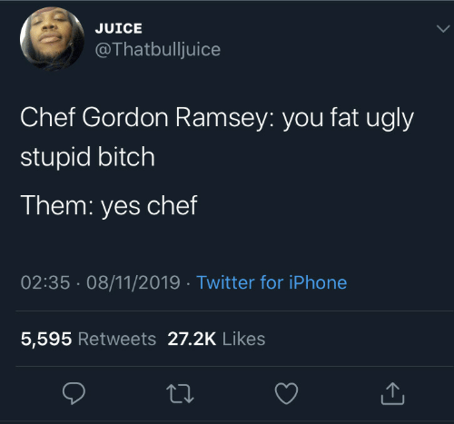 Bitch, Iphone, and Juice: JUICE  @Thatbulljuice  Chef Gordon Ramsey: you fat ugly  stupid bitch  Them: yes chef  02:35 08/11/2019 Twitter for iPhone  5,595 Retweets 27.2K Likes
