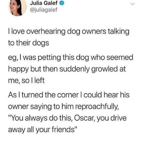 """Dogs, Friends, and Love: Julia Galef  @juliagalef  I love overhearing dog owners talking  to their dogs  eg, I was petting this dog who seemed  happy but then suddenly growled at  me, so l left  As I turned the corner I could hear his  owner saying to him reproachfully,  """"You always do this, Oscar, you drive  away all your friends"""""""