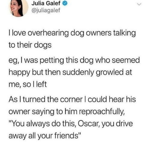 """julia: Julia Galef  @juliagalef  I love overhearing dog owners talking  to their dogs  eg, I was petting this dog who seemed  happy but then suddenly growled at  me, so I left  As I turned the corner I could hear his  owner saying to him reproachfully,  """"You always do this, Oscar, you drive  away all your friends"""""""