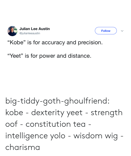 "Target, Tumblr, and Yolo: Julian Lee Austin  @julianleeaustin  Follow  ""Kobe"" is for accuracy and precision.  ""Yeet"" is for power and distance. big-tiddy-goth-ghoulfriend: kobe - dexterity yeet - strength oof - constitution tea - intelligence yolo - wisdom wig - charisma"