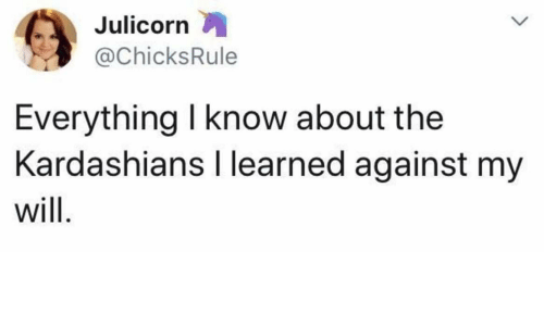 Kardashians, The Kardashians, and Will: Julicorn  @ChicksRule  Everything I know about the  Kardashians I learned against my  will.