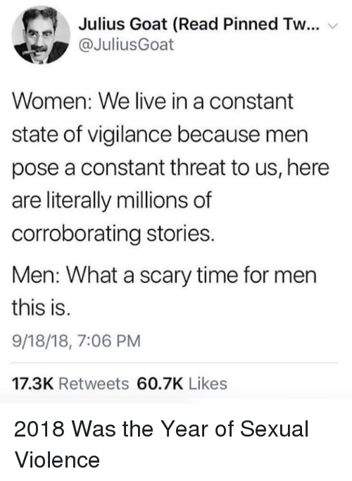 christine: Julius Goat (Read Pinned Tw  @JuliusGoat  Women: We live in a constant  state of vigilance because men  pose a constant threat to us, here  are literally millions of  corroborating stories.  Men: What a scary time for mern  this is.  9/18/18, 7:06 PM  17.3K Retweets 60.7K Likes 2018 Was the Year of Sexual Violence