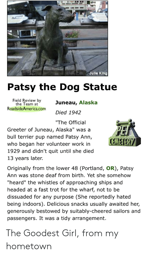 """bestowed: Julle King  Patsy the Dog Statue  Field Review by  the Team at  RoadsideAmerica.com  Juneau, Alaska  Died 1942  """"The Official  Greeter of Juneau, Alaska"""" was a  bull terrier pup named Patsy Ann,  CEREIERY  who began her volunteer work in  1929 and didn't quit until she died  13 years later.  Originally from the lower 48 (Portland, OR), Patsy  Ann was stone deaf from birth. Yet she somehow  """"heard"""" the whistles of approaching ships and  headed at a fast trot for the wharf, not to be  dissuaded for any purpose (She reportedly hated  being indoors). Delicious snacks usually awaited her,  generously bestowed by suitably-cheered sailors and  passengers. It was a tidy arrangement. The Goodest Girl, from my hometown"""