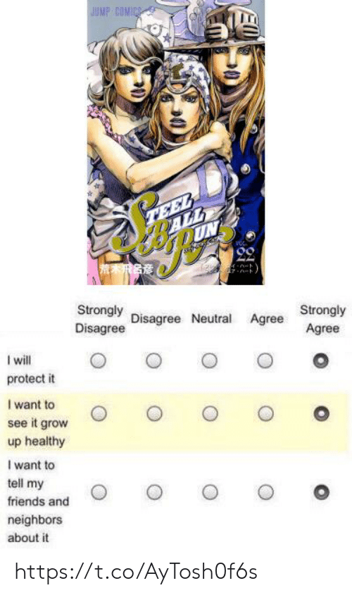 disagree: JUMP COMICS  TEEL  ALL  UN  Strongly  Disagree  Disagree Neutral Agree  Strongly  Agree  I will  protect it  I want to  see it grow  up healthy  I want to  tell my  friends and  neighbors  about it https://t.co/AyTosh0f6s