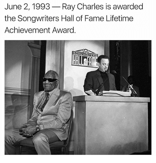 lifetime achievement award: June 2, 1993 Ray Charles is awarded  the Songwriters Hall of Fame Lifetime  Achievement Award
