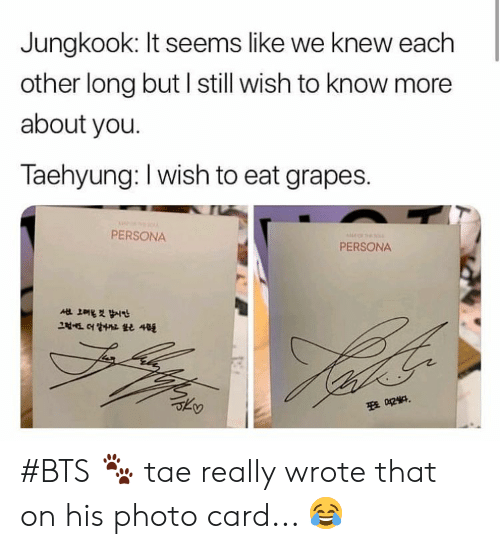 Bts, Persona, and Photo: Jungkook: It seems like we knew each  other long but l still wish to know more  about you.  Taehyung: I wish to eat grapes.  PERSONA  PERSONA #BTS 🐾 tae really wrote that on his photo card... 😂