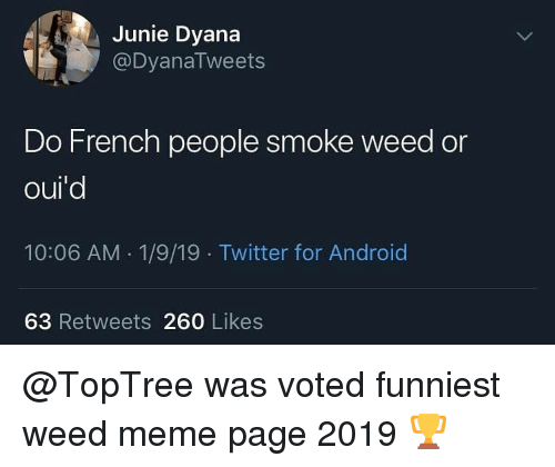 meme page: Junie Dyana  @DyanaTweets  Do French people smoke weed or  oul  10:06 AM 1/9/19 Twitter for Android  63 Retweets 260 Likes @TopTree was voted funniest weed meme page 2019 🏆