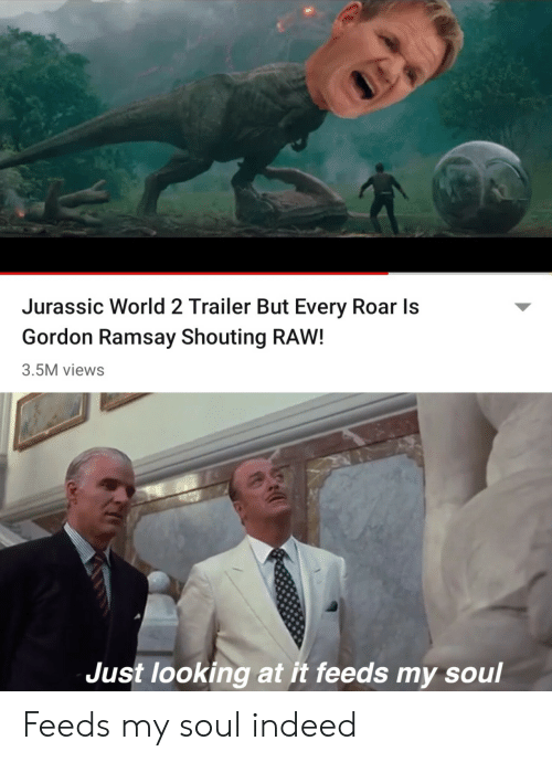 Gordon Ramsay, Jurassic World, and Indeed: Jurassic World 2 Trailer But Every Roar Is  Gordon Ramsay Shouting RAW!  3.5M views  Just looking at it feeds my soul Feeds my soul indeed