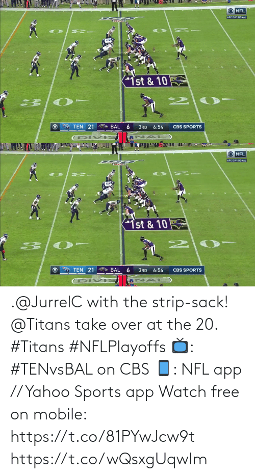 over: .@JurrelC with the strip-sack!  @Titans take over at the 20. #Titans #NFLPlayoffs  📺: #TENvsBAL on CBS 📱: NFL app // Yahoo Sports app Watch free on mobile: https://t.co/81PYwJcw9t https://t.co/wQsxgUqwIm
