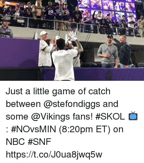 snf: Just a little game of catch between @stefondiggs and some @Vikings fans! #SKOL  📺: #NOvsMIN (8:20pm ET) on NBC #SNF https://t.co/J0ua8jwq5w
