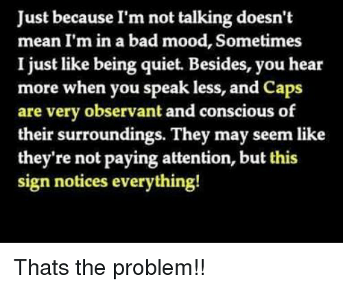 observant: Just because I'm not talking doesn't  mean I'm in a bad mood, Sometimes  I just like being quiet. Besides, you hear  more when you speak less, and caps  are very observant and conscious of  their surroundings. They may seem like  they're not paying attention, but this  sign notices everything! Thats the problem!!