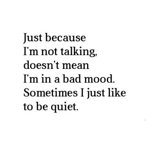 Bad, Mood, and Mean: Just because  I'm not talking,  doesn't mean  I'm in a bad mood.  Sometimes I just like  to be quiet.