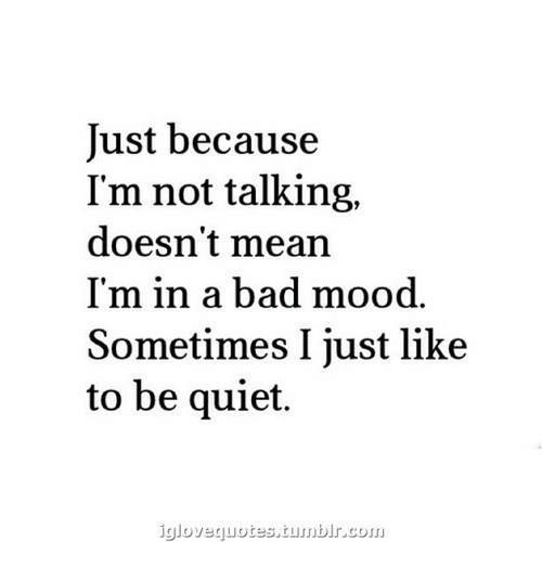 Bad, Mood, and Mean: Just because  I'm not talking,  doesn't mean  I'm in a bad mood.  Sometimes I just like  to be quiet.  igloveguotes,tunbIr.cou.